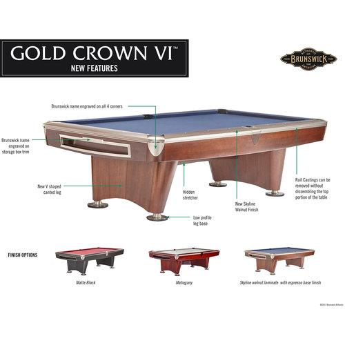 Brunswick Pooltafel Brunswick Gold Crown VI pooltafel mat zwart 9ft