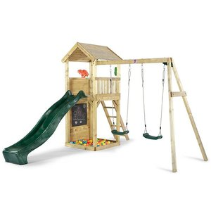Lookout play tower with swing wood
