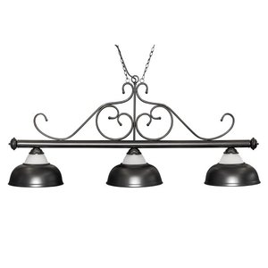 "Billiard lamp ""Opera"", black, 3 bells, Ø38cm, 156cm"