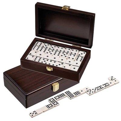 Domino dubbel 9 walnoten box 20x12,5cm