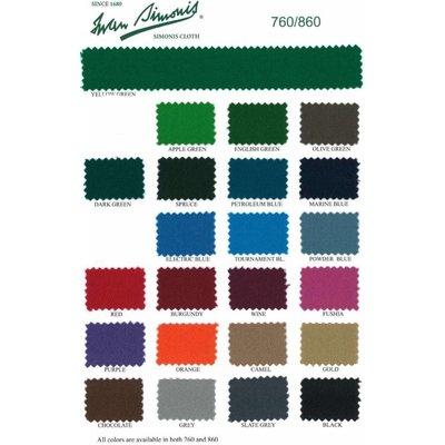 Pool billiard Simonis 760 various colors. 195 cm per 10 cm