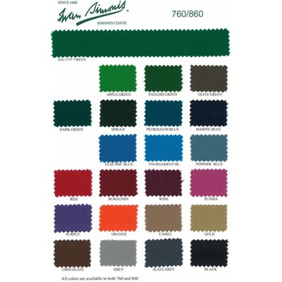 Poolbiljart laken Simonis 760 diverse kleuren. Compleet 290 cm lang 165 cm breed