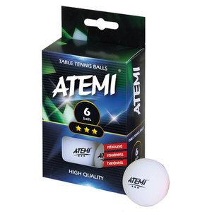 Atemi ping pong ballen wit 3* (set 6)