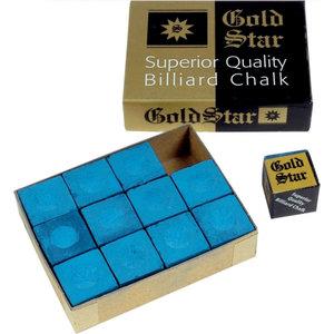 Gold star billiard chalk 12 pieces blue