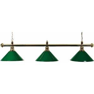 Pool billiard lamp with three shades, green