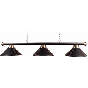 Billiard lamp pool with three shades, leather (black)