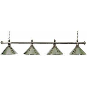 Pool billiard lamp with 4 caps, chrome