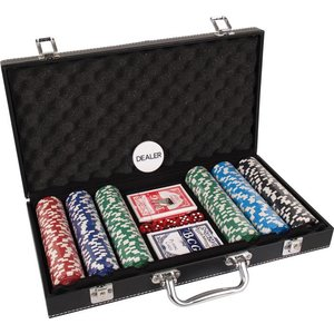 Pokerset koffer kunstleer 300 chips value