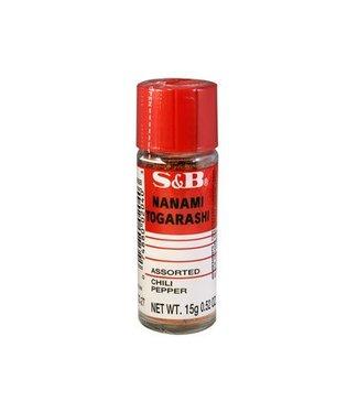 Nanami Togarashi Chili Peper 7 kruiden poeder s&b 15gr pot
