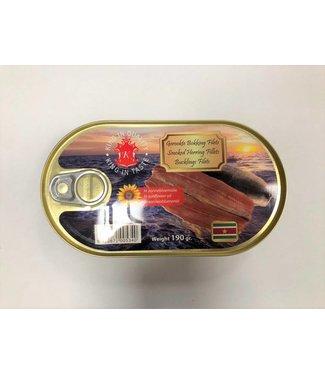 Suriname Gerookte Bokking Filets in blik 190 g