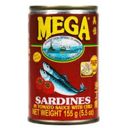 Mega Mega Sardines in tomato sauce with chili 155g
