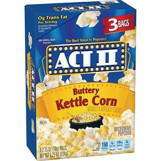 act II Buttery Kettle Corn 3 bags 2.75 oz (8.25 oz /234gr)