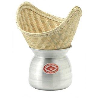 Aluminum Laos Pot & Bamboo Basket 22 cm