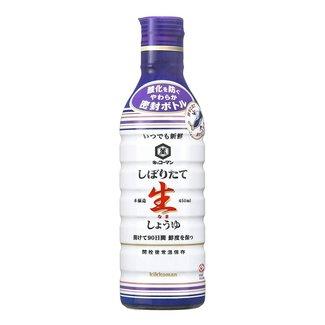 Fresly Squeezed Nama Shoyu Soy Sauce 450ml Kikkoman - Blue purple