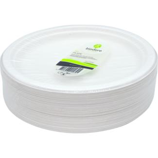 Biodore Plate, round, 1-compartment, kraft cardboard, Ø22cm, per 100 pieces