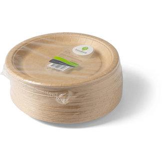 Biodore Plate, round, 1-compartment, kraft cardboard, Ø220mm, natural per 100 pieces