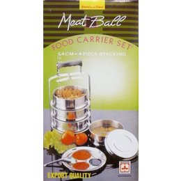 Meat ball food carrier set 4 piece stacking