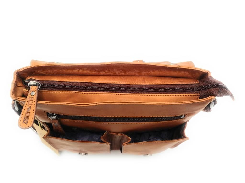 Hill Burry Hill Burry – VB10024 -3076- echt leren - schoudertas –crossbodytas- stevig - vintage leder- bruin /cognac