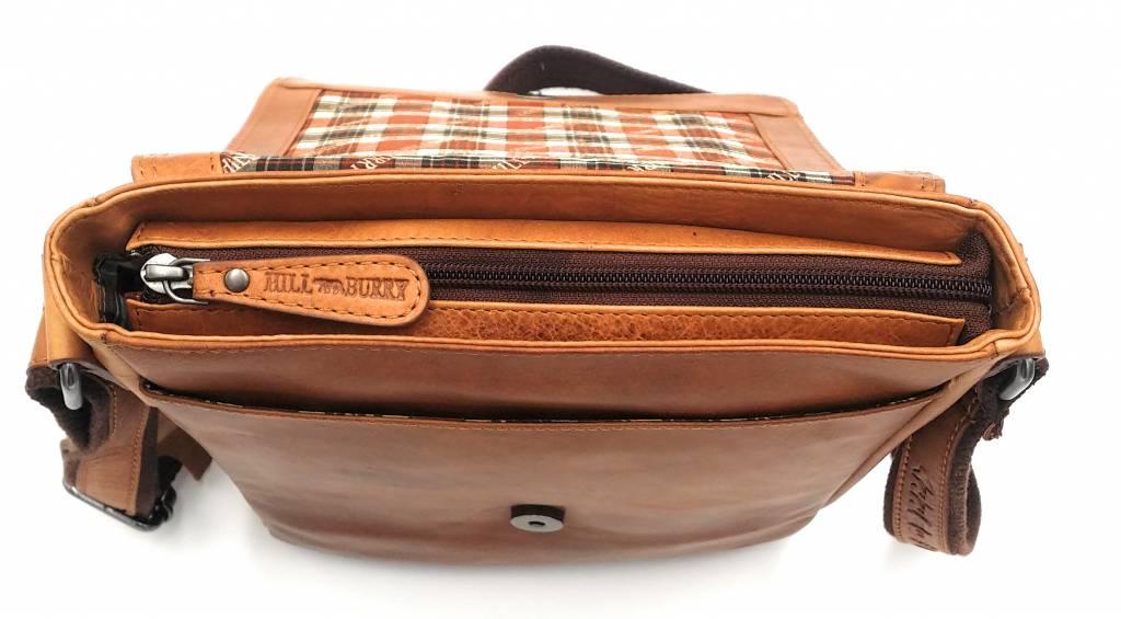 Hill Burry Hill Burry - VB10096 - 3161- echt leren - schoudertas – crossbodytas- stevig - vintage leder- bruin /cognac