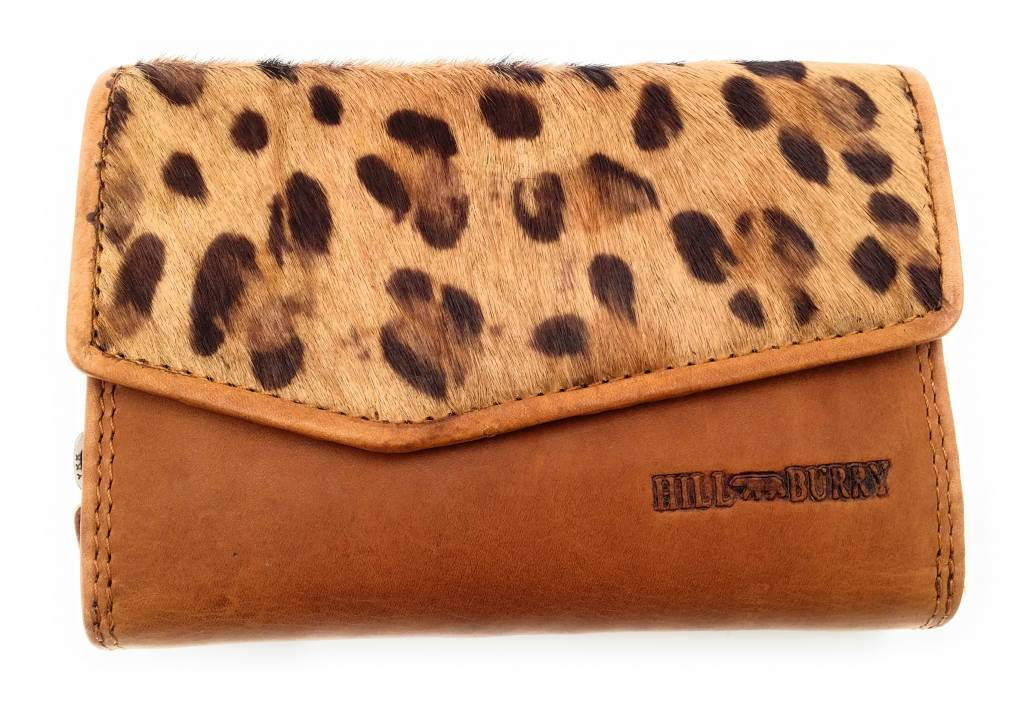 Hill Burry Hill Burry - VL77703 - 13092 - leder- rits portemonnee – bruin / tigerprint