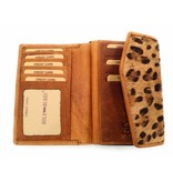 Hill Burry Hill Burry - VL77703 - 13092 - leather zipper wallet - brown / tiger print