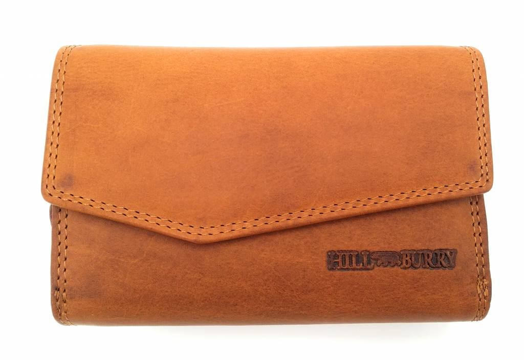 Hill Burry Hill Burry - VL77703 - 13092 - leather zipper wallet - brown / cognac