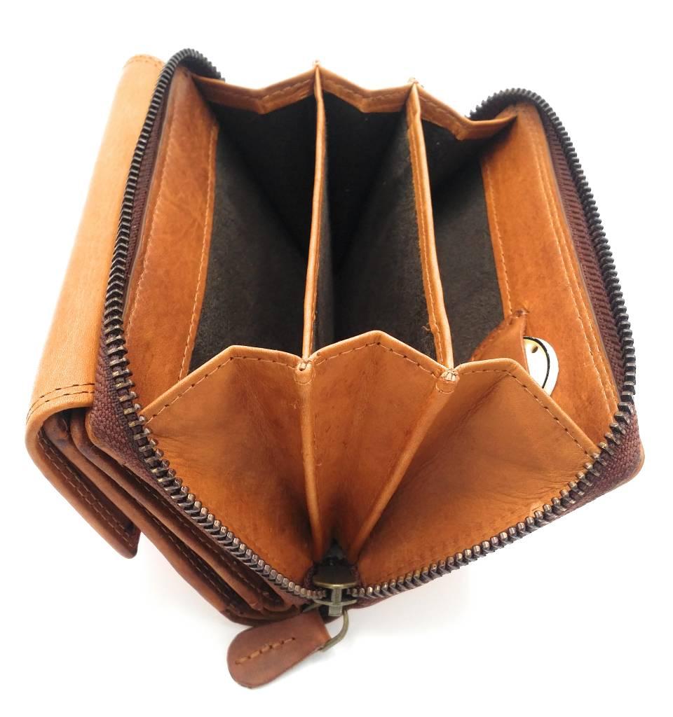 Hill Burry Hill Burry - VL77703 - 13092 - leder- rits portemonnee – bruin / cognac
