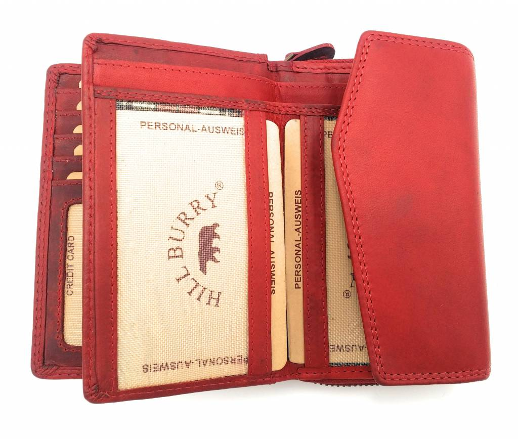 Hill Burry Hill Burry - VL77703 - 13092 - leder- rits portemonnee – rood