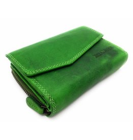 Hill Burry Hill Burry - VL77703 - 13092 - leather zipper wallet - green