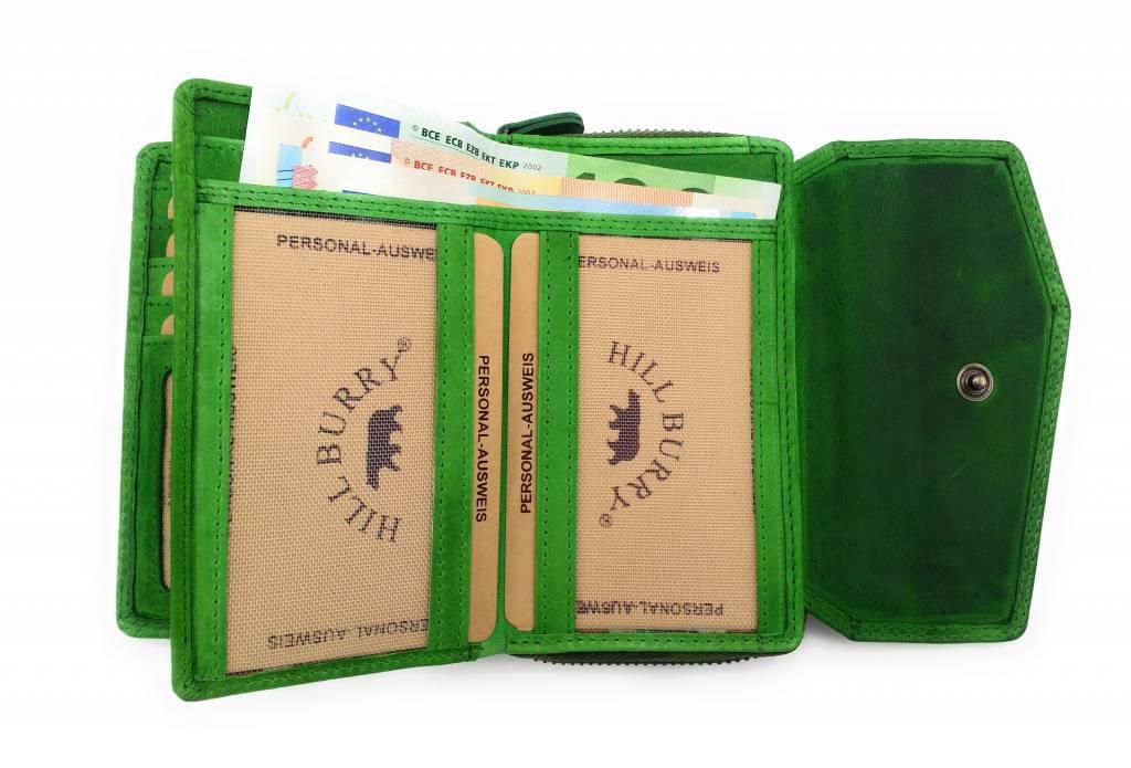 Hill Burry Hill Burry - VL77703 - 13092 - Leder Reißverschluss Geldbörse - grün