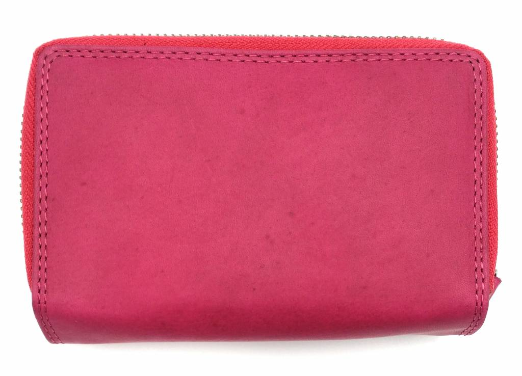 Hill Burry Hill Burry - VL77703 - 13092 - leather zipper wallet - pink - pink