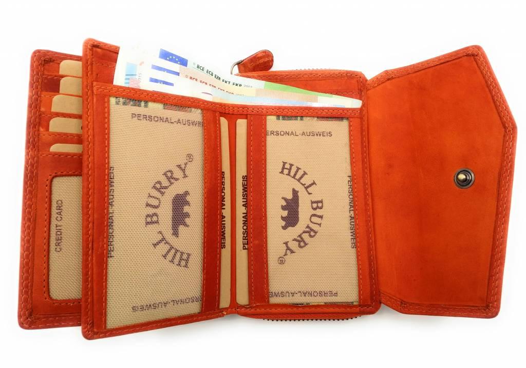 Hill Burry Hill Burry - VL77703 - 13092 - leder- rits portemonnee – oranje
