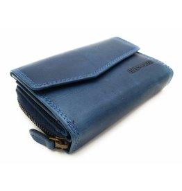 Hill Burry Hill Burry - VL77703 - 13092 - leather zipper wallet - blue