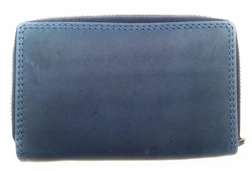 Hill Burry Hill Burry - VL77703 - 13092 - leder- rits portemonnee – blauw