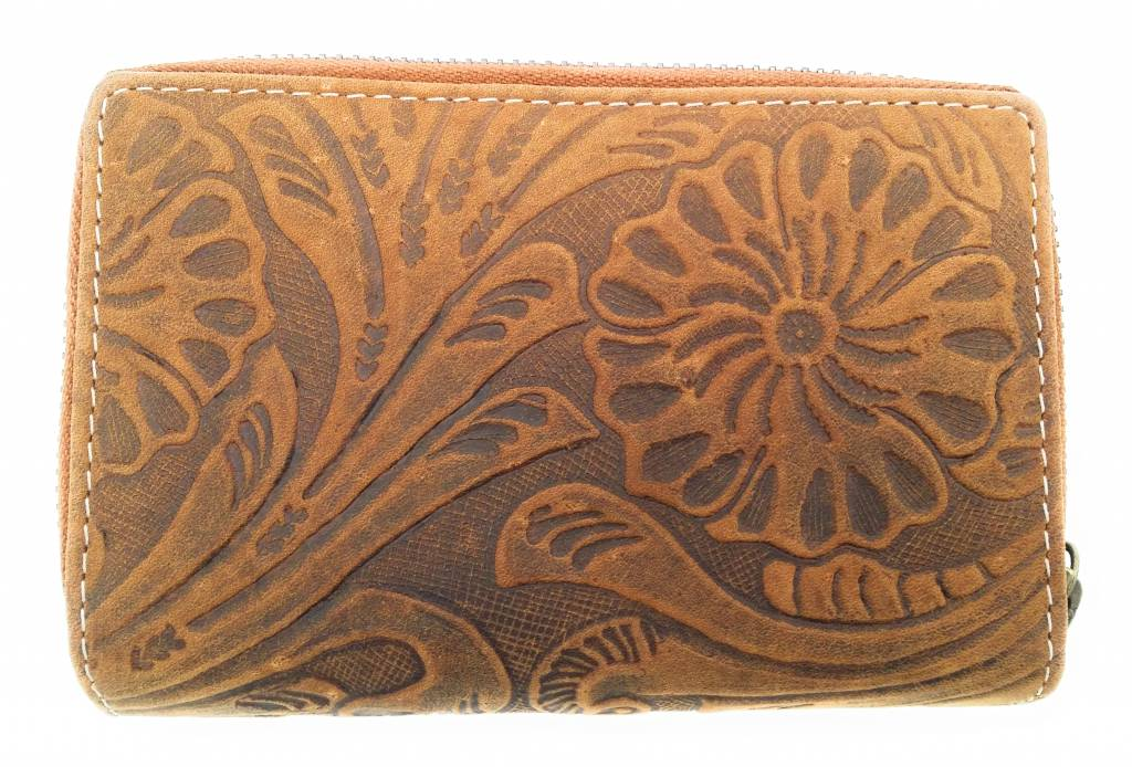 Hill Burry Hill Burry -13 092 / F - leather with flower textur- ladies zipper purse - Tan