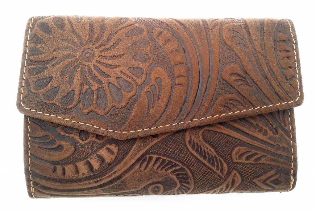 Hill Burry Hill Burry -13092/F – leder met bloem textur- dames rits portemonnee – Brown