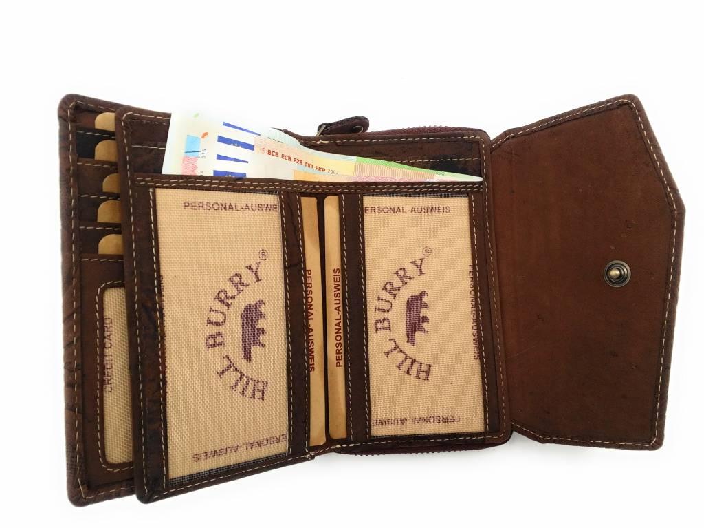 Hill Burry Hill Burry -13 092 / F - Leder mit Blume textur- Damen Geldbörse Reißverschluss - Braun