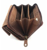 Hill Burry Hill Burry -13 092 / F - leather with flower textur- ladies zipper purse - Brown