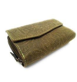 Hill Burry Hill Burry -13092/F – leder met bloem textur- dames rits portemonnee – Green