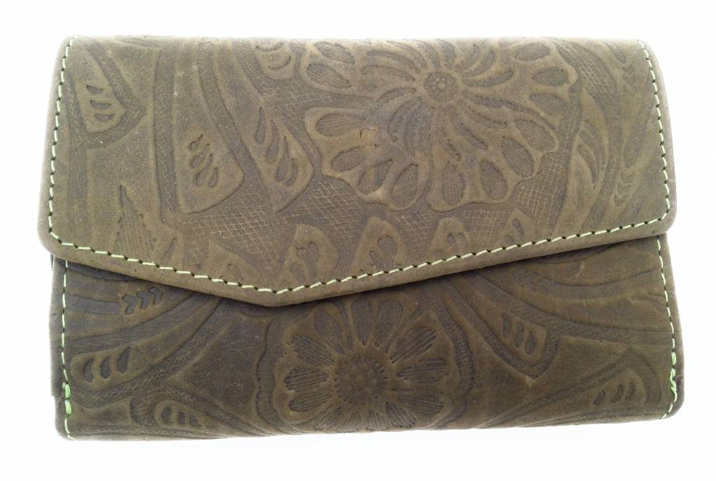 Hill Burry Hill Burry -13 092 / F - leather with flower textur- ladies zipper purse - Green