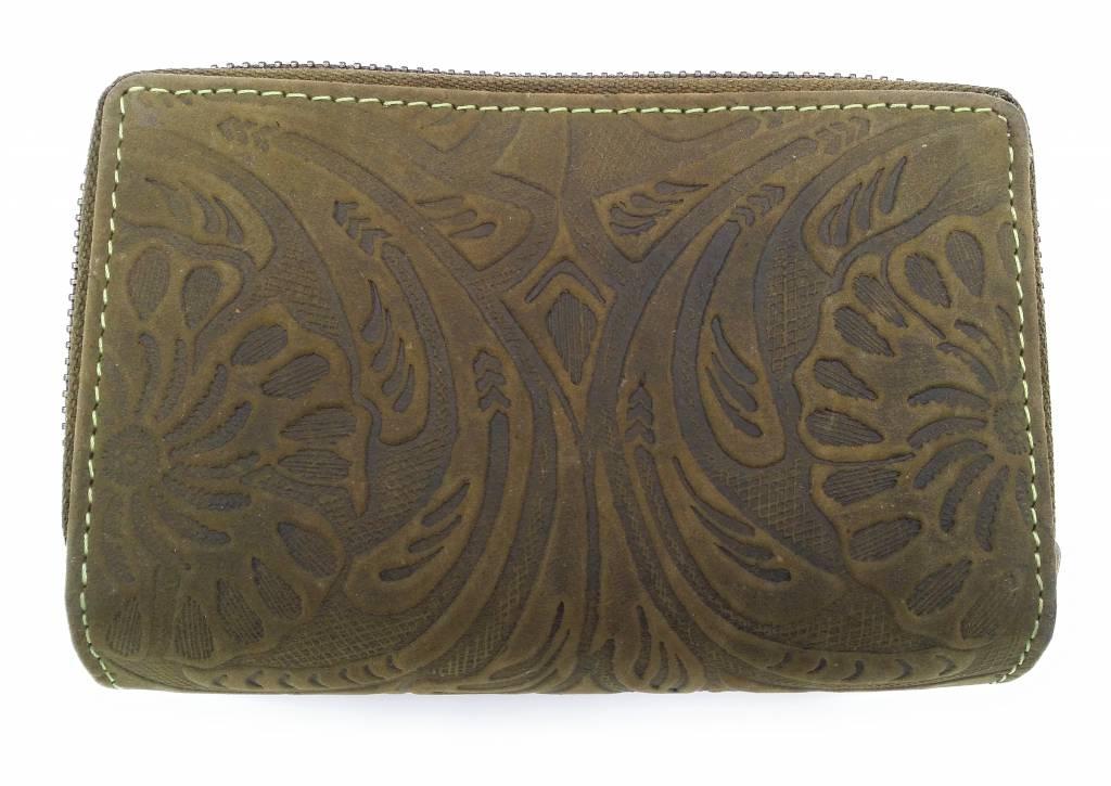 Hill Burry Hill Burry -13 092 / F - Leder mit Blume textur- Damen Geldbörse Reißverschluss - Grün