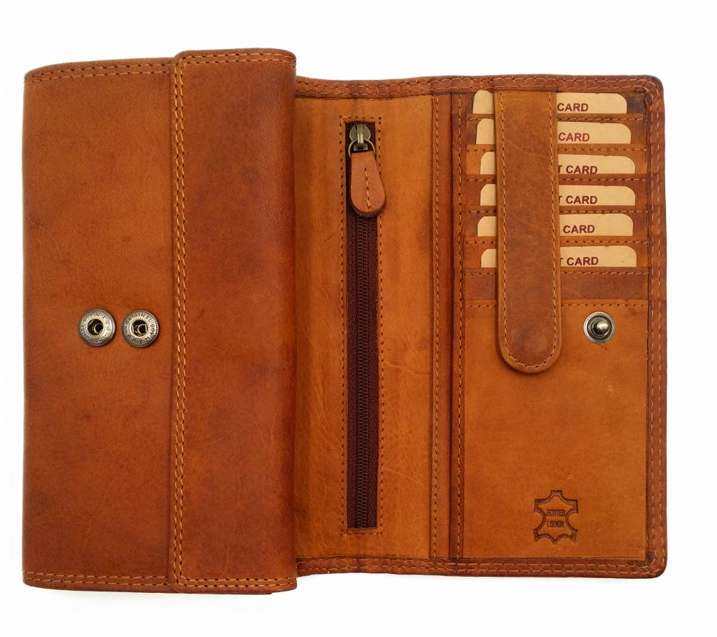 Hill Burry Hill Burry - VL77709 -1971 - real leather - big - Women - wallet - Vintage leather brown