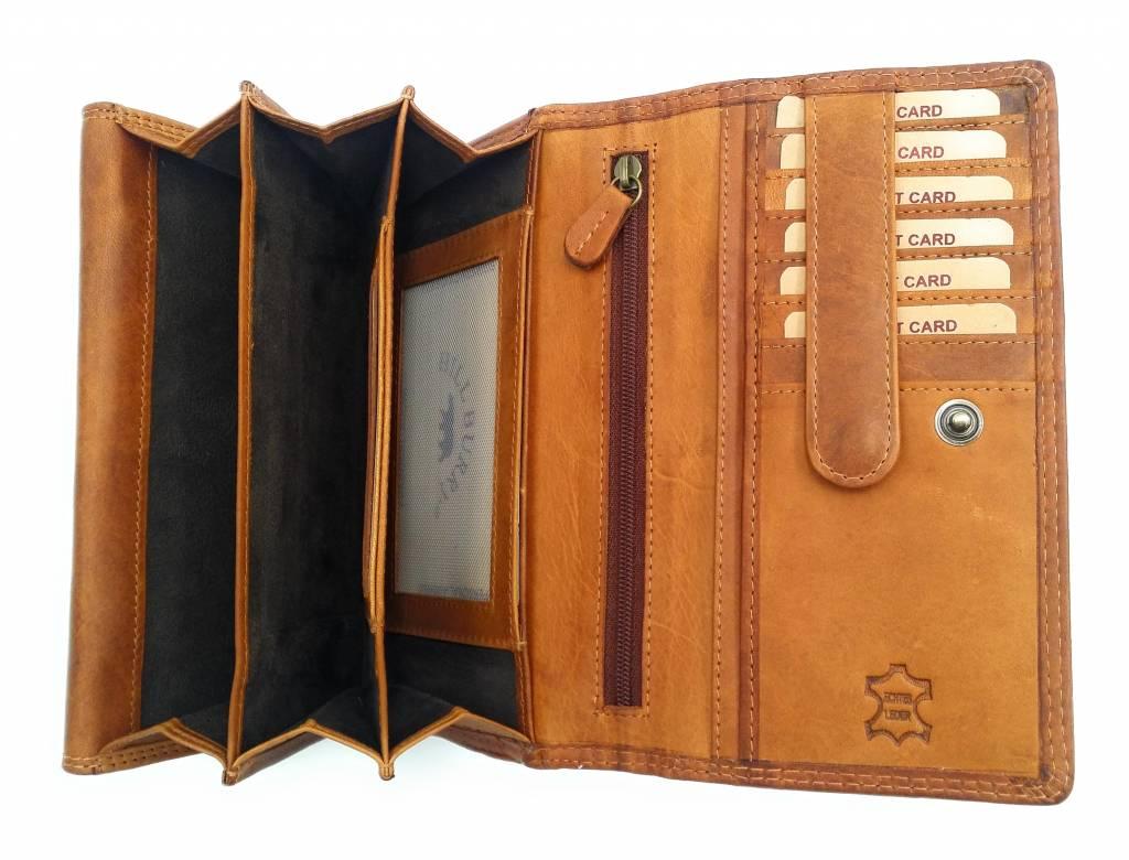 Hill Burry Hill Burry - VL77709 -1971 - echt lederen - grote - dames - portemonnee - vintage leder- bruin