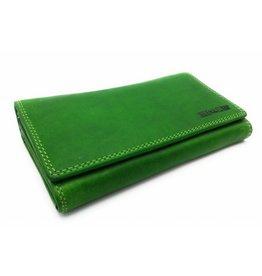 Hill Burry Hill Burry - VL77709 -1971 - echt lederen - grote - dames - portemonnee - vintage leder- groen