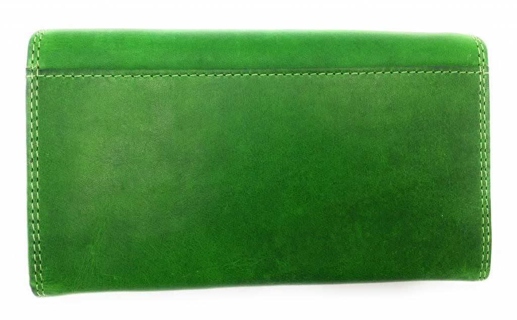 Hill Burry Hill Burry - VL77709 -1971 - real leather - big - Women - wallet - vintage leather green
