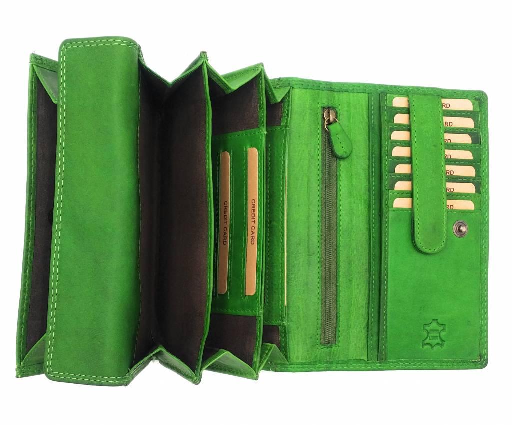 Hill Burry Hill Burry - VL77709 -1971 - Echtleder - big - Frauen - Portemonnaie - Vintage-Leder-grün
