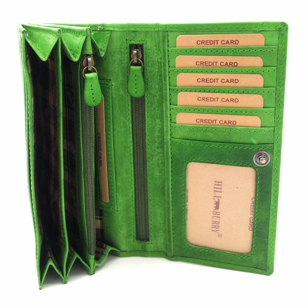Hill Burry Hill Burry - VL77701 - L104 - genuine leather - Women - wallet - vintage leather green