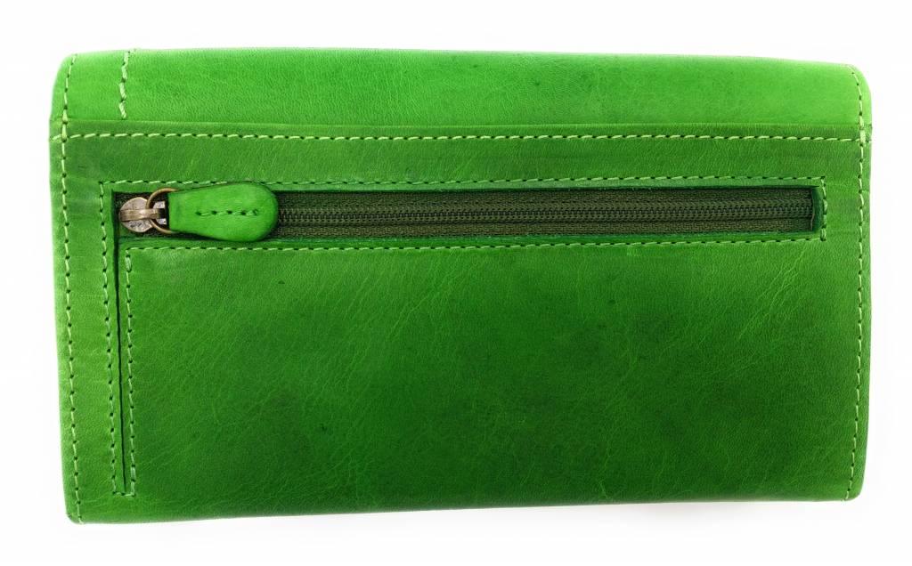 Hill Burry Hill Burry - VL77701 - L104 - echt lederen - dames - portemonnee - vintage leder- groen