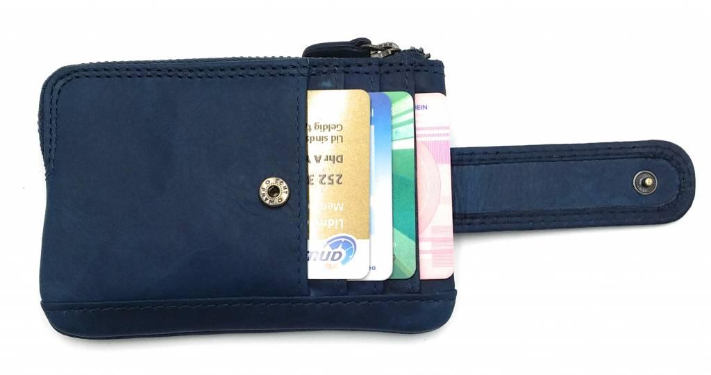 Hill Burry Hill Burry - V88862 - 5143- blau- echtes Leder - Mini - Karteninhaber Plus-Taste - Vintage-Leder blau