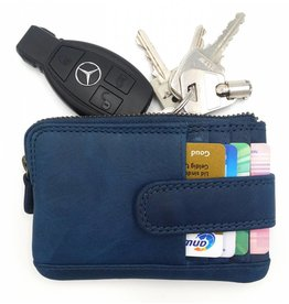 Hill Burry Hill Burry - V88862 - 5143- blue- genuine leather - mini - cardholder plus key - vintage leather blue